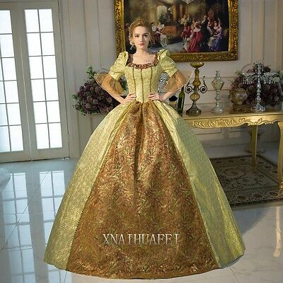 Gold Womens Party Renaissance Queen Prom Dresses Ball Gown Antoinette Costume