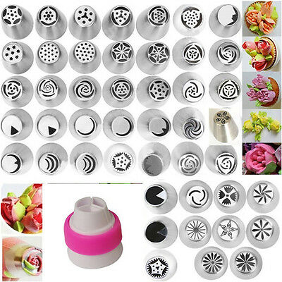 46Pcs DIY Steel Russian Icing Piping Nozzles Mould Cake Decorator Pastry Baking