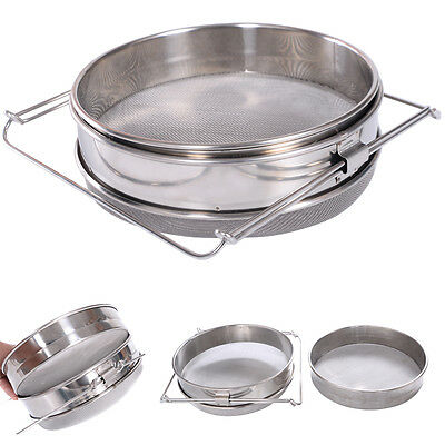 Stainless Steel Double Honey Filter Sieve Strainer 2 Tier For Beekeepers