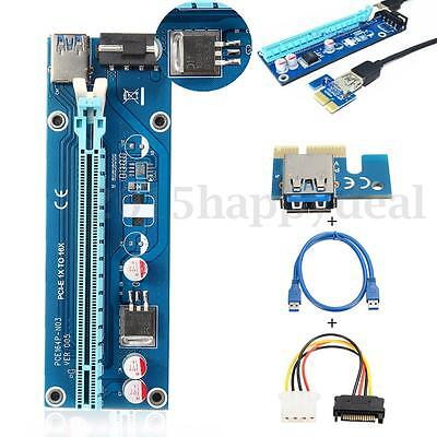 USB 3.0 PCI-E Express 1x to 16x Extender Riser Card Adapter w/ 60CM Power Cable