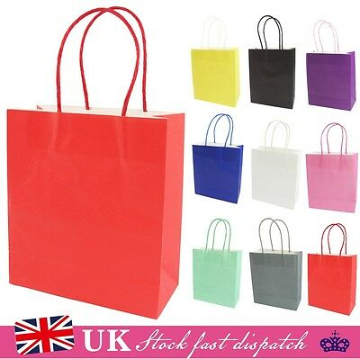 10x KRAFT PAPER LOOT BAG +HANDLES PARTY WEDDING CHRISTMAS CANDY GIFT CARRIER BAG