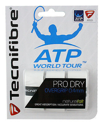 Tecnifibre Pro Dry Tennis Racket Overgrips - Pack of 3 - 0.4mm - White