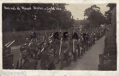 Soldier group W. King Royal Berkshire Regiment on March Lydd Kent 1912