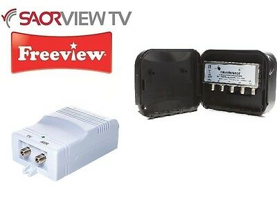 4 Way Masthead Amplifier Set 1-25dB Outdoor Indoor Aerial Booster Kit Saorview