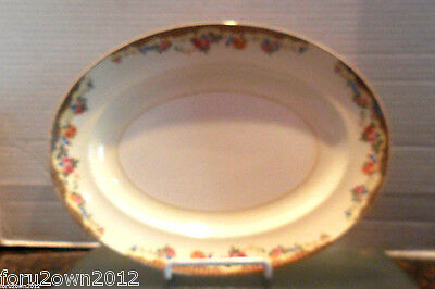 "VTG 1920's Paden City Pottery Pink Rose 11"" Oval Platter w Gold Trim Made in USA"