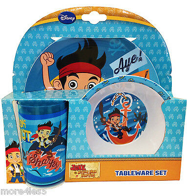 Jake & The Neverland Pirates 3 Piece Tableware Set Boys Gift Plate Bowl Tumbler