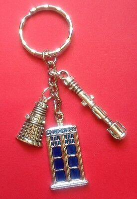 Dr Who Themed Keyring Blue Tardis Sonic Screwdriver Dalek Sci Fi Cult TV New