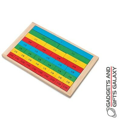 WOODEN FRACTIONS BOARD MATHS AID BRIGHTLY COLOURED BLOCKS gift toy novelty child