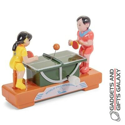 CLOCKWORK PING PONG MINIATURE DESKTOP TABLE TOY WIND UP collectors toy gift