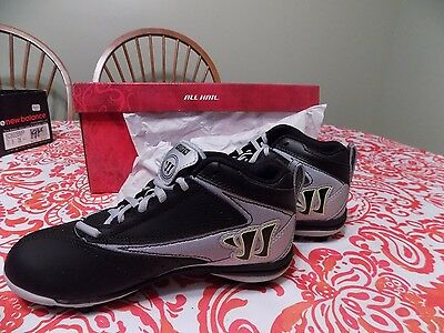 WARRIOR VEX LACROSSE MID HEIGHT MOLDED CLEATS Silver BLACK YELLOW JUNIOR 3 1/2