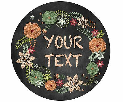 Mouse Pad Custom Personalized Thick Round Mousepad-Chalkboard Floral Wreath
