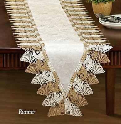"Elegant Crochet Lace Table Runner Dresser Scarf Silky Cream tone 70""x 15"""