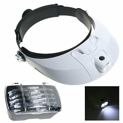 LED Lamp Light Headband Headset Head Jeweler Magnifier Magnifying Glass Loupe