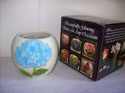 "Ibis & Orchid ""Blue Hydrangea"" Decorative Votive Cup with Candle (#116)"