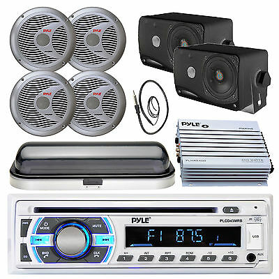 "Marine 400W Amplifier,USB Bluetooth Radio, Antenna,Cover, 6.5"" and 3.5"" Speakers"