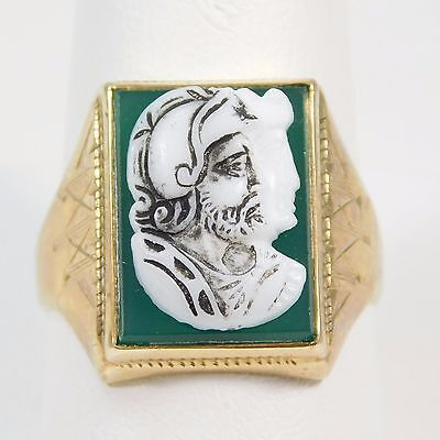 10K Gold Ring with a Cameo Roman Soldier on a Green Jade Background