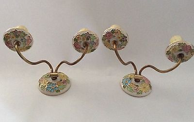 Vintage Pair Of Brass And Ceramic Floral Decorative Wall Sconce Twin Arm