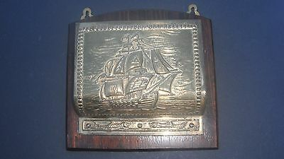 Vintage Brass & Wood Letter Rack With Embossed Galleon Ship Design