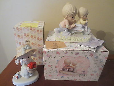 LOT 2 PC PRECIOUS MOMENTS FIGURES RARE Safe In The Hands Of Love, Original Box