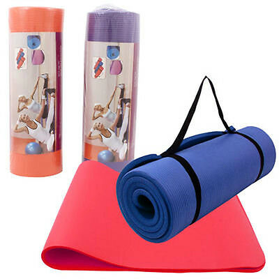 "72"" Non-slip Fitness Exercise Pilates Yoga Mat Pad 15mm Extra Thick wCarry Strap"