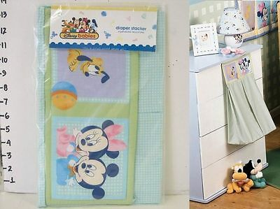 Disney Mickey Minnie Mouse Pluto Baby Crib Bedding Diaper Stacker Green NEW