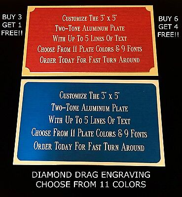 """Engraved Plate 3""""x5"""" ALUMINUM TWO TONE Custom Name Plate Tag Plaque Art Label"""