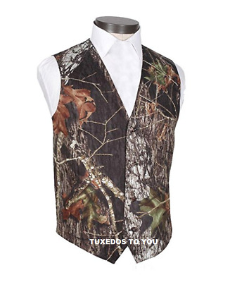 New Mossy Oak Break Up Camo Formal Wedding Tuxedo Real Pockets Camouflage Vest