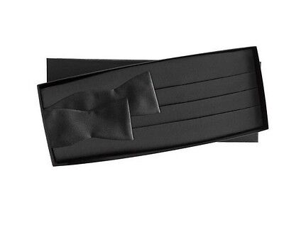 NEW Men's Black Satin Cummerbund & Self Tie Bowtie Tuxedo Tux Wedding Formal Set