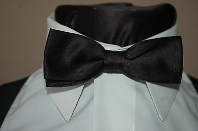 NEW Black Satin Vintage Tuxedo Pretied Skinny Tux Thin 1 1/2 inch! Bow Tie Retro