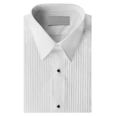 NEW Mens White Laydown/Spread Collar Pleated Tuxedo Shirt Wedding Prom ALL SIZES