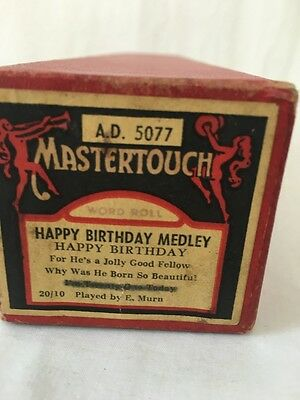 Vintage Mastertouch Happy Birthday Medley Piano Roll