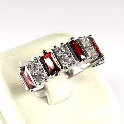 R#9505 Simulated Red Garnet / White Topaz gemstone ladies silver ring size 9