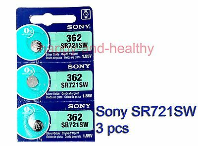 New Sony SR721SW 362 Silver Oxide watch Battery x3 pcs Japan made FREE post