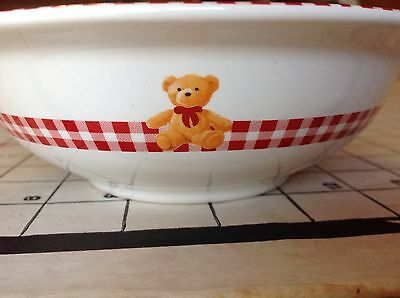 Lipton & Gund Teddy Bear Ceramic Collectible Bowl Cereal Soup Dish Vintage Plaid