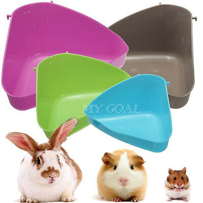 Pet Cat Small Animal Rabbit Guinea Mice Pig Hamster Corner Litter Trays 4 Colors