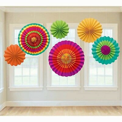 Party Supplies Decorations Birthday Mexican Fiesta  Hanging  Paper Fans pk 6