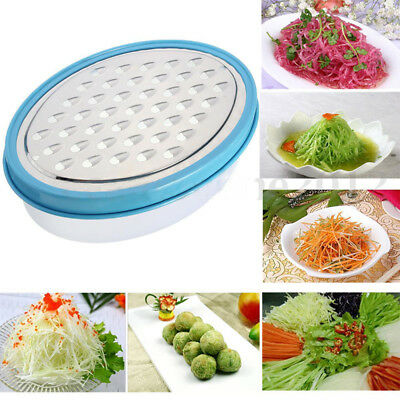 New Stainless Steel Grater Food Vegetable Cheese Slicer With Container Box Blue