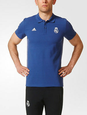 3 Stripes Real Madrid Adidas Polo Maglia Shirt Blu maniche corte 2016 17
