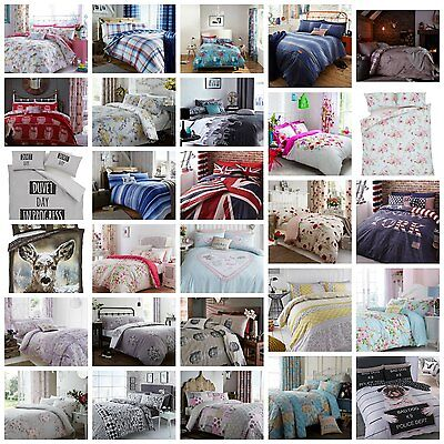 Duvet Quilt Cover with Pillow Case Bedding Set All Size Single Double King