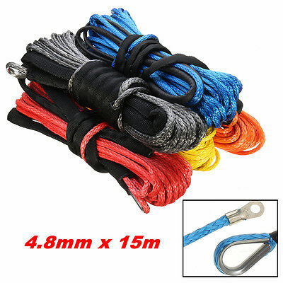 5500LBs ATV Vehicle Synthetic Fiber Winch Rope Cable Replacement Van 4.8mm x 15m