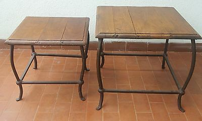 Coppia Di Tavolini Antichi Primi 900 Pair Of Walnut And Iron Tables  Of 1900