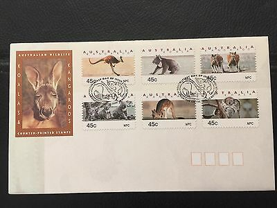 AUSTRALIA 1994 Koalas And Kangaroos Counter Printed Stamps First Day Cover