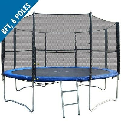 BodyRip 8FT REPLACEMENT 6 POLE TRAMPOLINE SAFETY NET ENCLOSURE SURROUND OUTDOOR