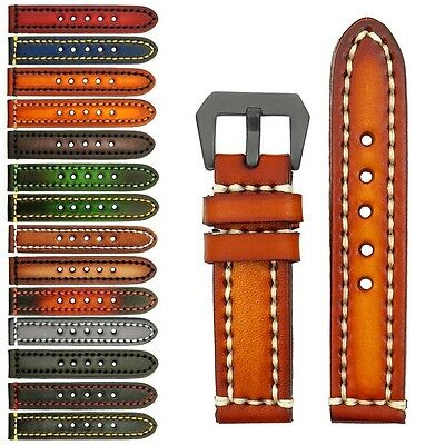 StrapsCo Thick Vintage Leather Watch Band Strap - Heavy Duty Contrast Stitching
