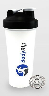 BodyRip 600ml 20oz PROTEIN SHAKER BLENDER MIXER CUP NUTRITION ⋐BLACK⋑