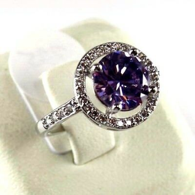 R#8994 simulated Purple Amethyst & Topaz Gemstone ladies silver ring size 6