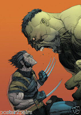The Hulk Vs Wolverine Avengers Comic Art Large Poster Print Maxi A0 A1 A2 A3 A4