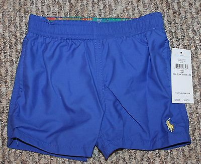 New! Boys Polo Ralph Lauren Swim Shorts/Trunks (Swimmers; Blue) Size 12, 18 mo
