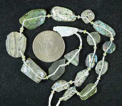 Ancient Roman Glass Beads 1 Medium Strand Aqua And Green 100 -200 Bc 530