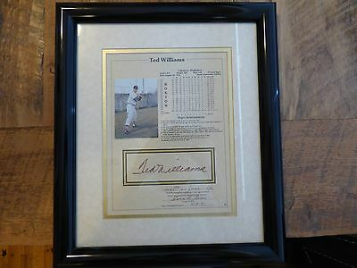 Authentic Ted williams autographed plaque